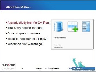 Tools4Plex: SpeedUp development with CA Plex